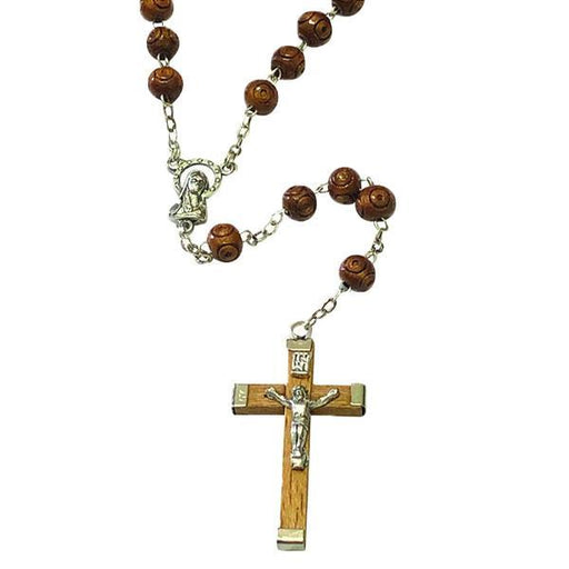 Wooden Rosary with Light Brown Wooden Crucifix - Round Light Wood Beads