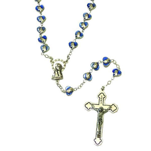Blue Enamel Rosary with Heart Shaped Miraculous Medal Beads and Silver-tone Crucifix
