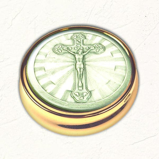 Silver-tone Crucifix Pyx with NO LINER