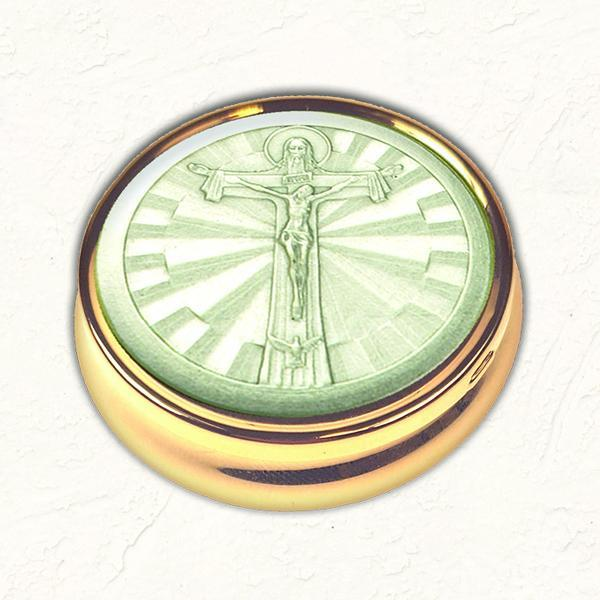 Silver-tone Trinity Cross Pyx with NO LINER