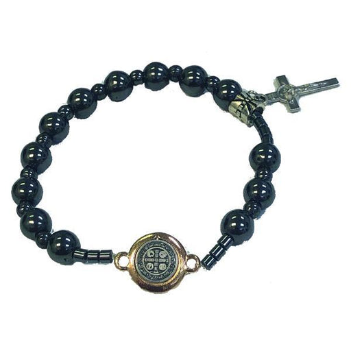 Saint Benedict Hematite Stretch Bracelet with Medal and Cross