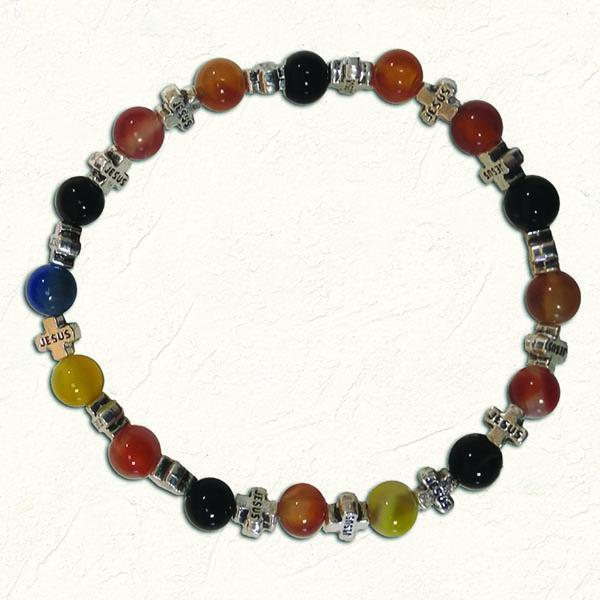 Multi Color Glass Stretch Bracelet