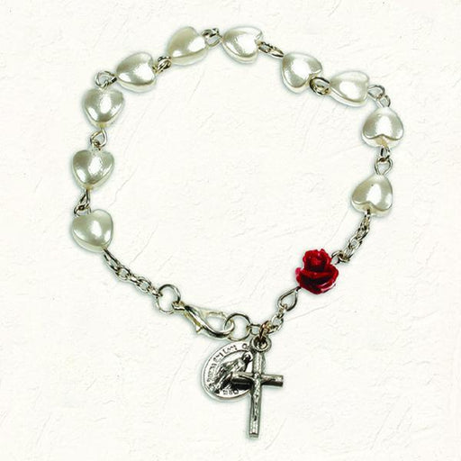 Heart Shaped Imitation Pearl Bracelet with Red Rose Resin Bead and Lobster Claw Clasp