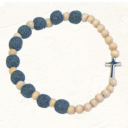 White and Black Stretch Bracelet with Cross