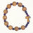 Olive Wood Stretch Bracelet with Natural Wood and Red Colored Beads with Tau Cross