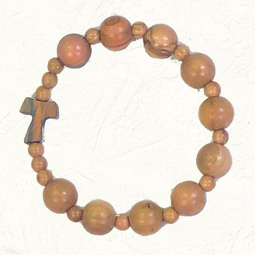 Olive Wood Stretch Bracelet with Natural Wood Colored Beads with Tau Cross