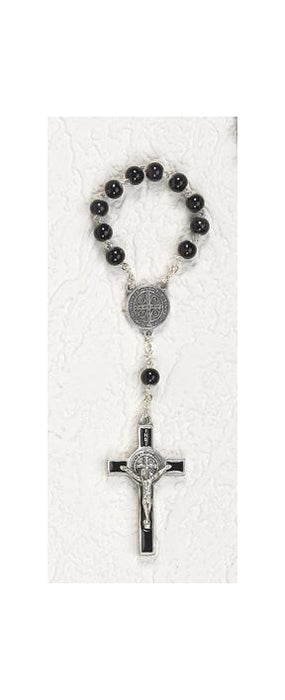 7mm Black Glass Saint Benedict Decade Rosary