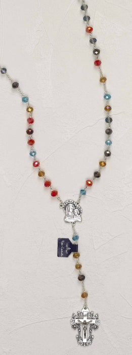 Multi Color REAL Crystal Rosary In Rosary Case