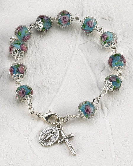 Light Blue Crystal Rose Bracelet with Hand Painted