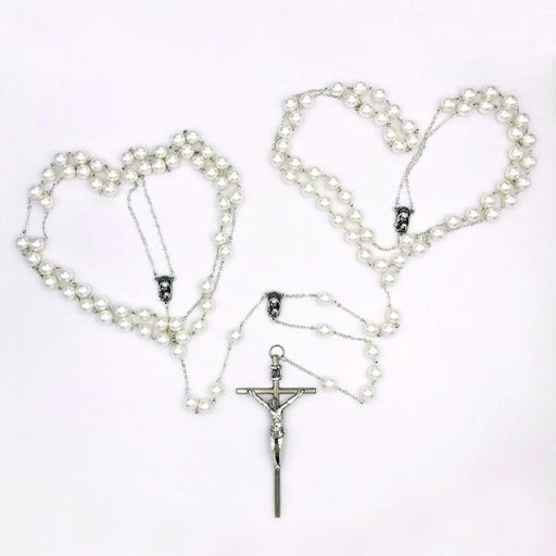 Small Imitation Pearl and Silver-tone Wedding Lasso Rosary
