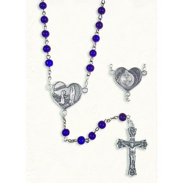 Blue Cat's Eye Rosary with Genuine Lourdes Water