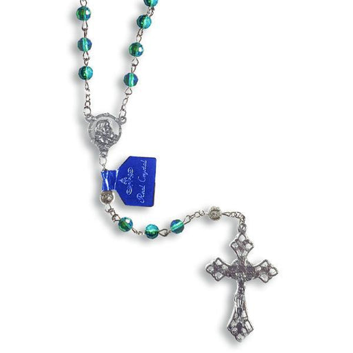 AB Crystal Rosary with Silver Filigree Our Father Beads - Blue
