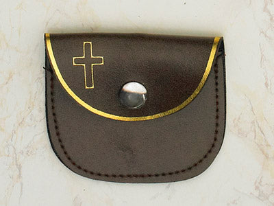 12-Pack - Brown Rosary Pouch 3 inch x 2-1/2 inch