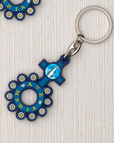 12-Pack - Ave Maria FR Key Ring with Pendant - Rubber
