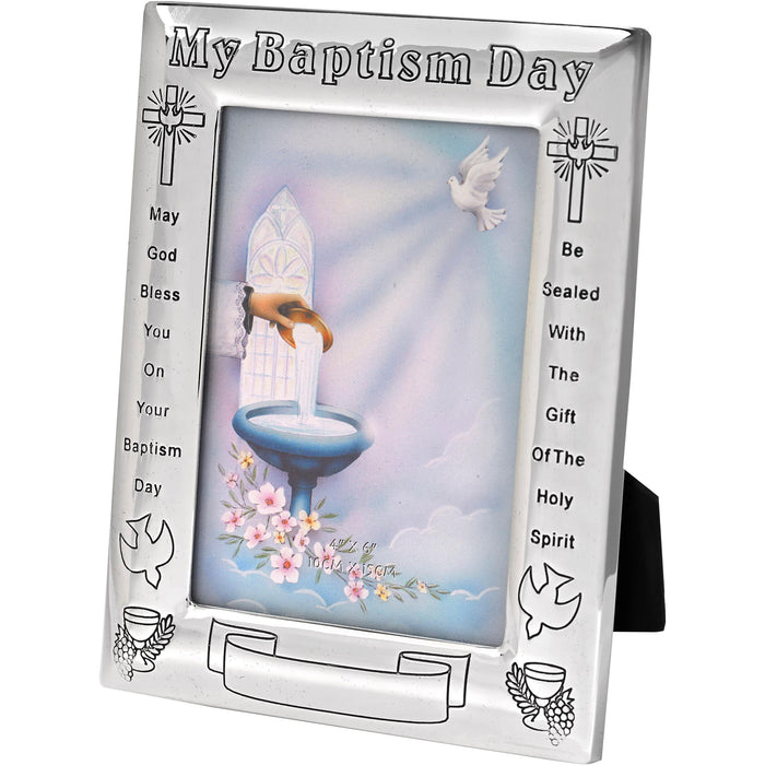 On Your Baptism Silver-tone Engravable Picture Frame