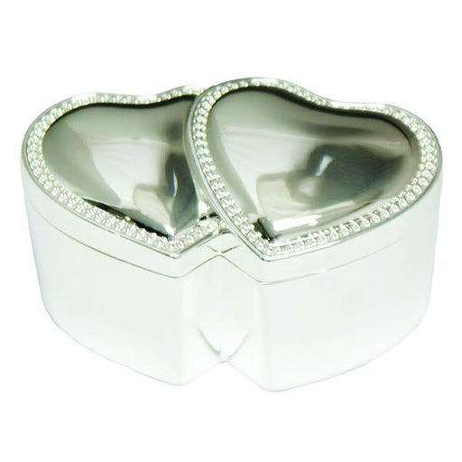 Double Heart Silver plated ring box