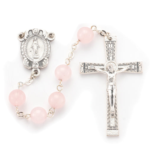 8MM Rose Quartz Genuine Stone Rosary