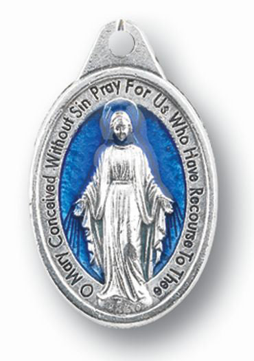 Oxidized Miraculous Medal with Blue Enamel 25-Pack