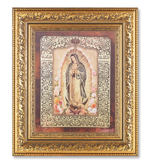 Gld Our Lady Of Guadalupe Roses In 10.23X12.24 Antique Gold Frame