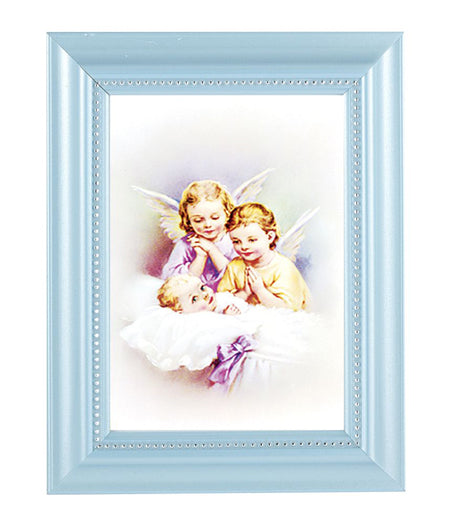 Guardian Angel Print In Blue Frame