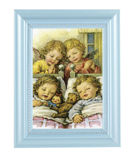Guardian Angels With Twins Print In Blue Frame
