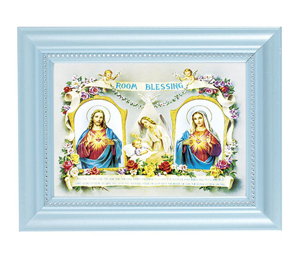 Baby Room Blessing Print In Blue Frame
