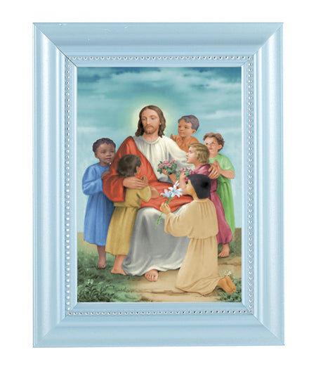 Christ With Children Print In Blue Frame