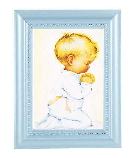 Praying Boy Print In Blue Frame
