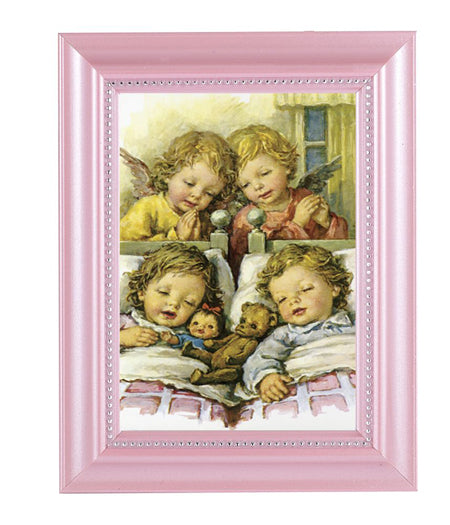 Guardian Angels With Twins Print In Pink Frame