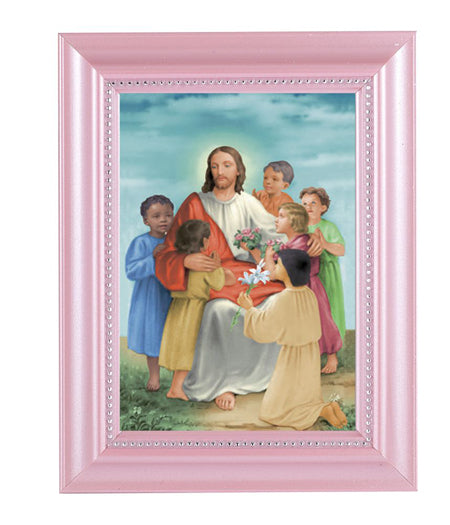 Christ With Children Print In Pink Frame