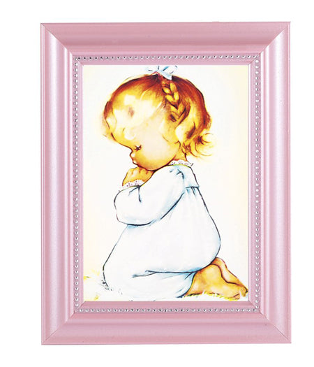 Praying Girl Print In Pink Frame