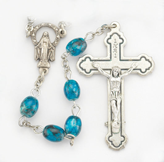 6X8MM Oval Dark Blue Glass Marbleized Bead Rosary