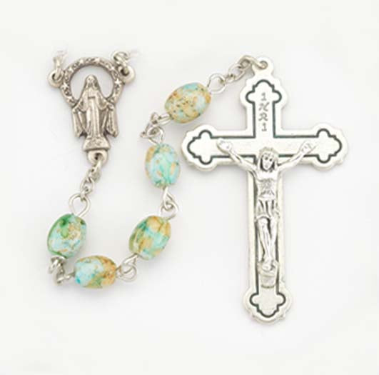 6X8MM Oval Light Blue Glass Marbleized Bead Rosary
