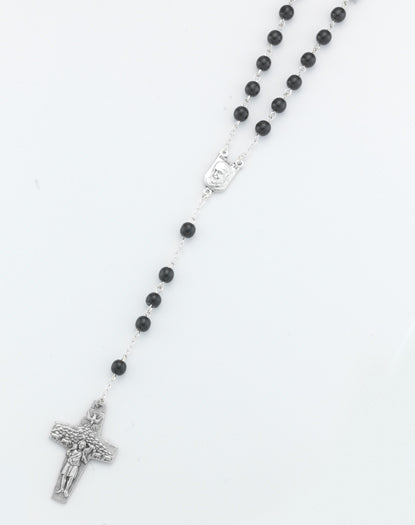 6MM Round Glass Bead Black Pope Francis Rosary