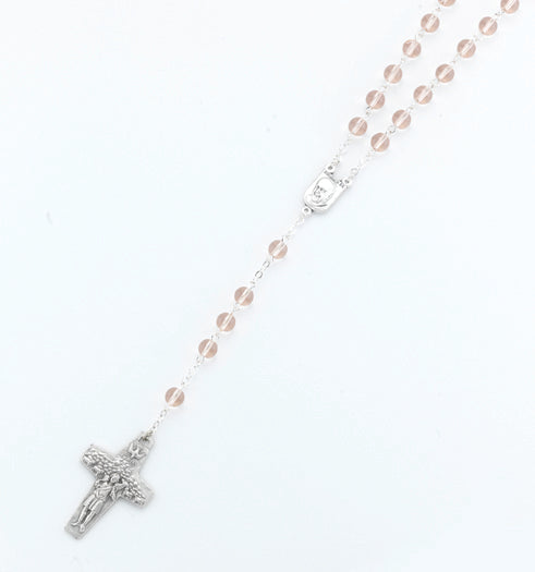 6MM Round Glass Bead Pink Pope Francis Rosary