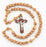 10-Pack - 8MM Round Light Brown Marbleize Rosary With Wood Crucifix