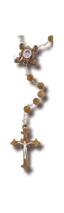 Olive Wood Rosary with Miraculous Center