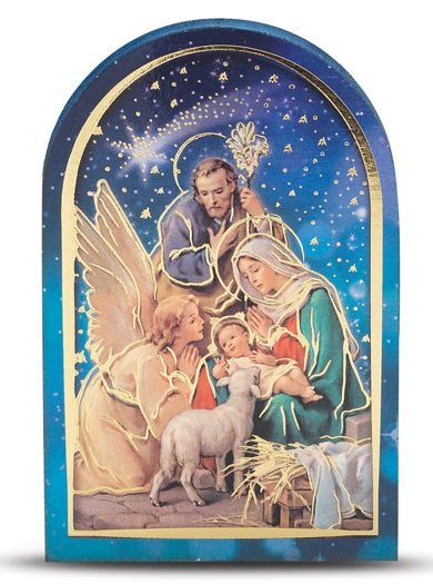 2.5-inchX3.5-inch Nativity With Angel Single Arched Standing Plaque