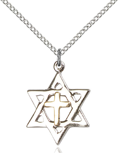 Two-Tone GF/SS Star of David Necklace Set