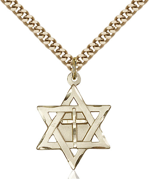 Gold-Filled Star of David W/ Cross Necklace Set