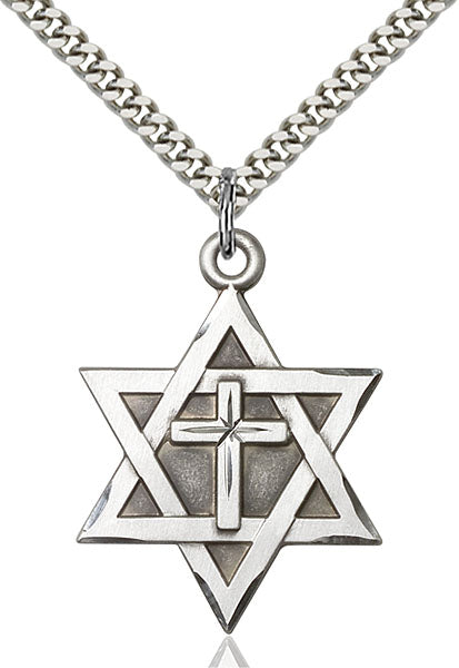 Sterling Silver Star of David W/ Cross Necklace Set