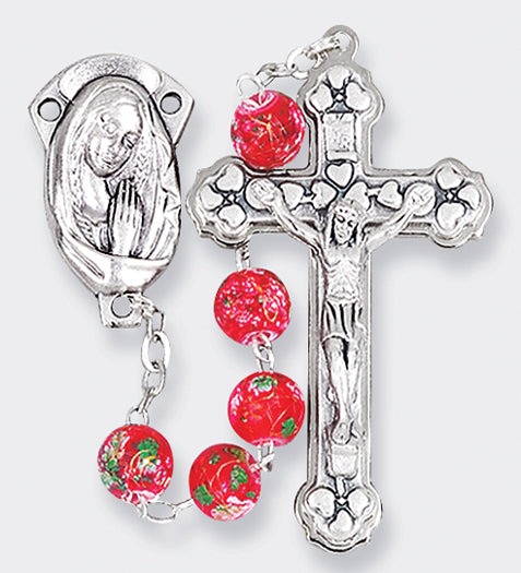 7MM Red Glass Bead Rosary