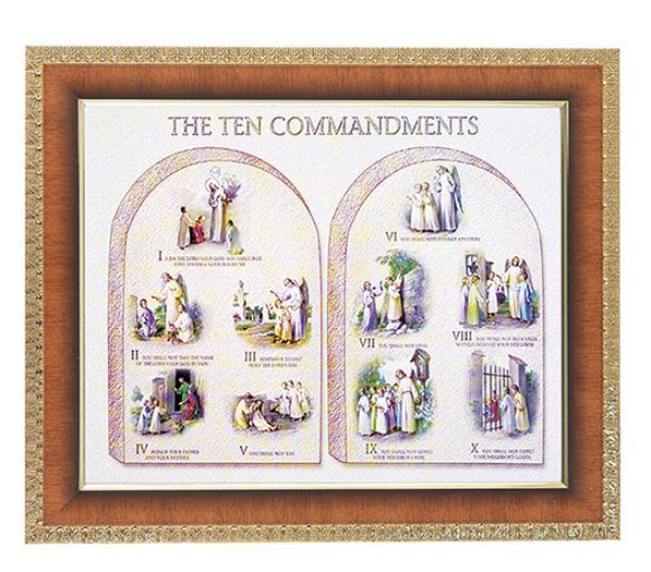 The Ten Commandments In Cherry Frame 10.25X12.25-inch 8X10 Print