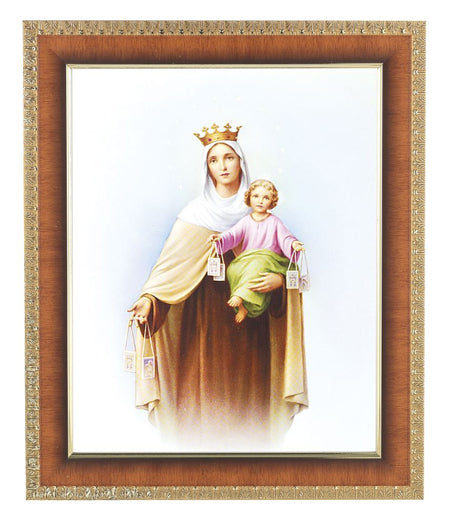 Our Lady Of Mt. Carmel Cherry Frame 10.25X12.25-inch 8X10 Print