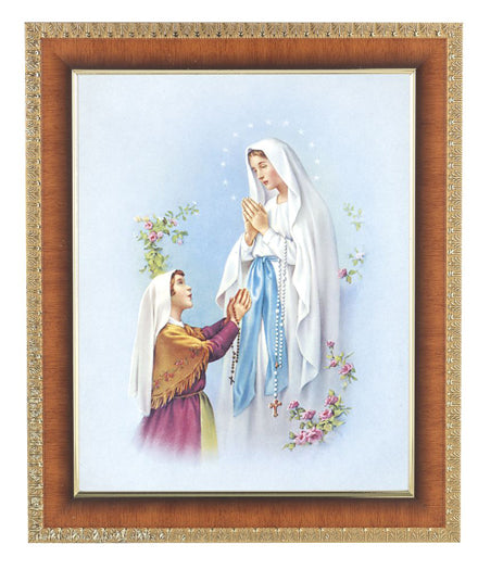 Our Lady Lourdes In Cherry Frame 10.25X12.25-inch 8X10 Print
