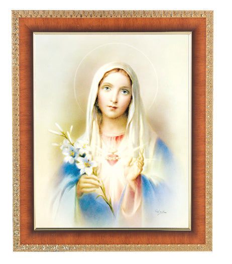 Immaculate Heart Of Mary 8X10 Cherry Frame 10.25X12.25-inch