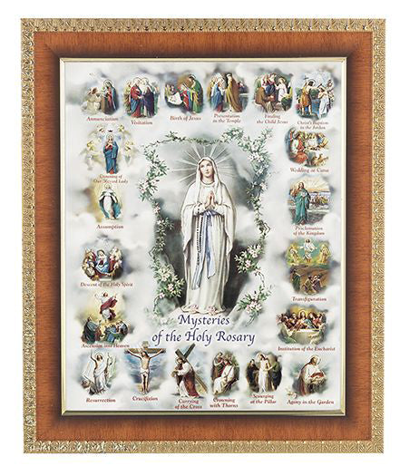 Mysteries Of The Rosary Cherry Frame 10.25X12.25-inch 8X10 Print