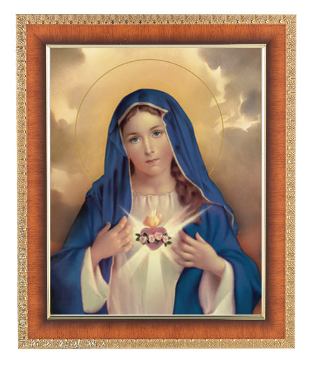 Immaculate Heart Of Mary 8X10 In Cherry Frame 10.25X12.25