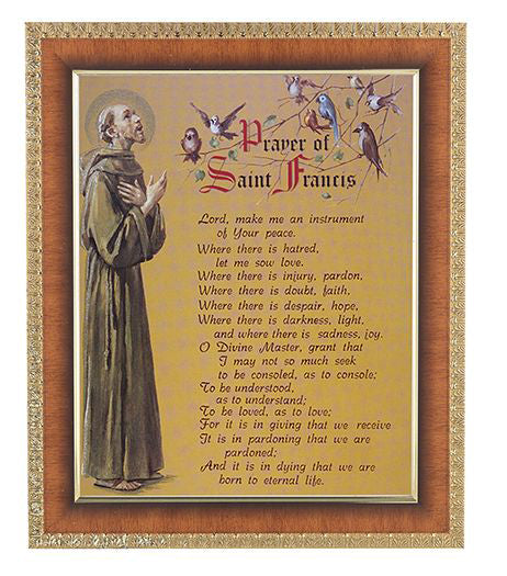 Prayer Of Saint Francis In Cherry Frame 10.25X12.25-inch 8X10 Print