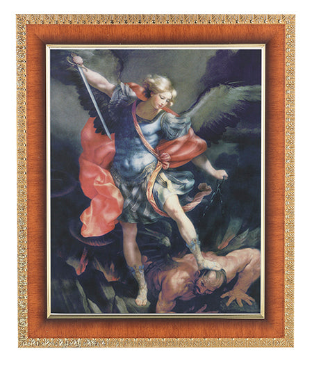 Saint Michael In Cherry Frame 10.25X12.25-inch 8X10 Print